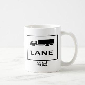 Tecken för lastbillaneväg kaffemugg