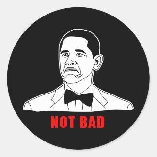 Tecknad för ansikte för ursinne för Obama inte Runda Klistermärken