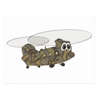 Tecknad för Chinookkamouflagehelikopter Vykort
