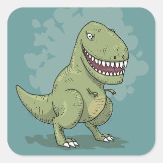 Tecknad för Dinosaur T Rex Fyrkantigt Klistermärke