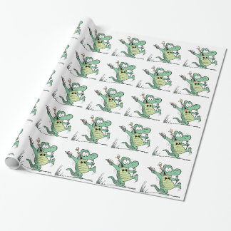 Tecknad för gamal manCroc dans som slår in papper Presentpapper