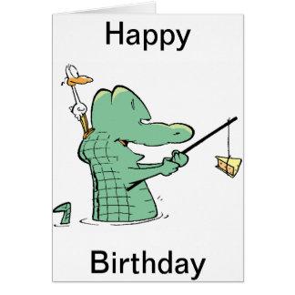 Tecknad för gamal manCroc födelsedag Hälsningskort