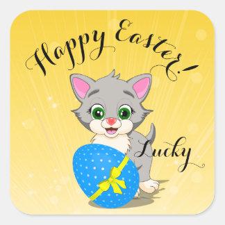 Tecknad för kattunge för påskCutie grå färg Fyrkantigt Klistermärke