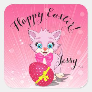 Tecknad för påskCutie rosa kattunge Fyrkantigt Klistermärke