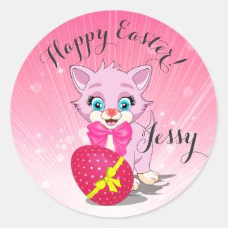 Tecknad för påskCutie rosa kattunge Runt Klistermärke