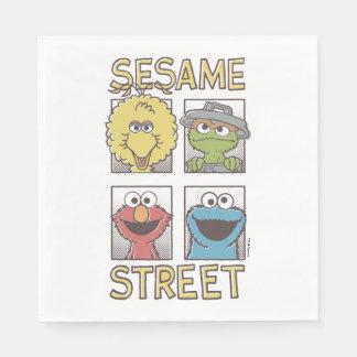 Tecknad för sesamStreetVintage tecken Pappersservett
