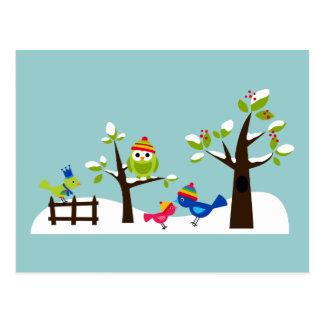 Tecknad för träd för snö för vinter för ugglauggla vykort