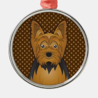 Tecknad för Yorkshire Terrier (Yorkie) Julgransprydnad Metall