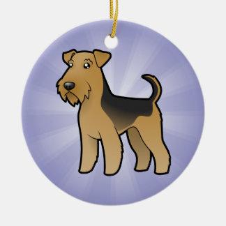 TecknadAiredaleTerrier/walesisk Terrier Julgransprydnad Keramik