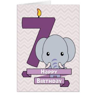 Tecknadbabyelefant för barns födelsedag hälsningskort