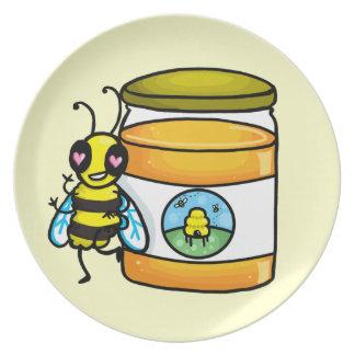 Tecknadbibenägenhet på honungburken tallrik