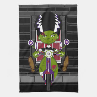 Tecknadbrud av Frankenstein på sparkcykeln Kökshandduk