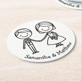 Tecknadbrud & svartvitt bröllop för brudgum underlägg papper rund