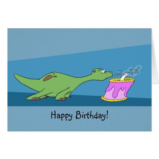 TecknadDinosaurfödelsedag Hälsnings Kort