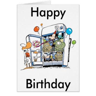 Tecknaddjurgrattis på födelsedagen hälsnings kort