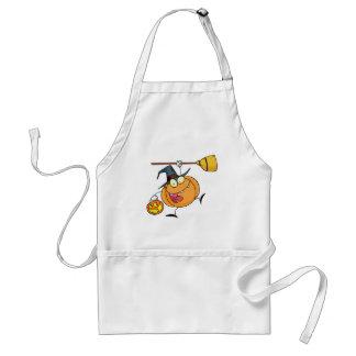 Tecknade figurerHalloween lycklig pumpa med en br Förkläde