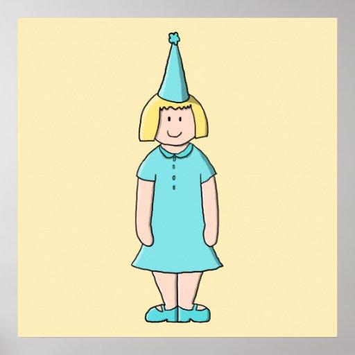 Tecknaden av en flicka klädde för en födelsedagdel affischer