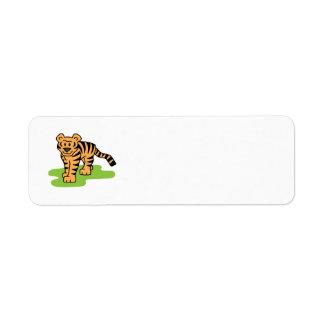 Tecknaden fäster ihop den stora katten för den returadress etikett