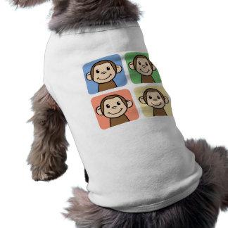 Tecknaden fäster ihop konst med 4 lyckliga apor husdjurströja