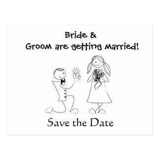 Tecknaden kopplar ihop bröllop spara datum vykort