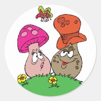 Tecknaden plocka svamp klistermärkear runt klistermärke