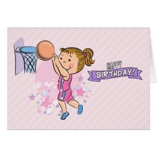 Tecknadflicka som leker basketfödelsedagkortet hälsningskort