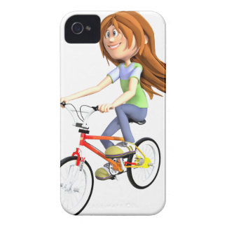 Tecknadflicka som rider en cykel Case-Mate iPhone 4 fodraler