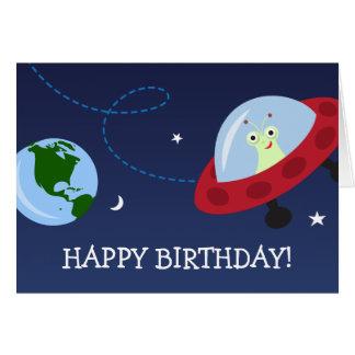 Tecknadfrämling med spaceshipgrattis på födelsedag hälsningskort