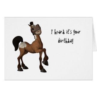 Tecknadhäst - jag hörde att det är ditt födelsedag hälsningskort
