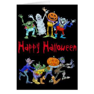 Tecknadillustration av en Halloween congo. Hälsningskort