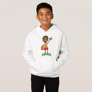 Tecknadillustration av ett pojkeinnehav en tee shirts