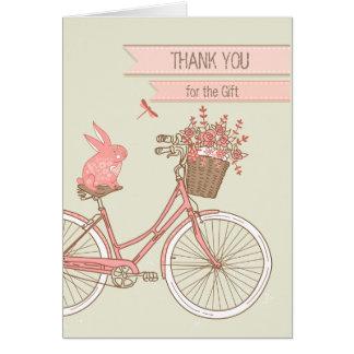 Tecknadkanin på cykeltack för den Retro gåvan OBS Kort