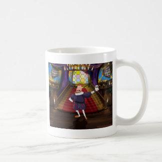 Tecknadman som deklamerar shakespeare spelrum kaffemugg