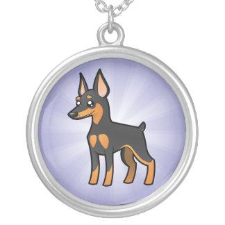 TecknadminiatyrPinscher/Manchester Terrier Silverpläterat Halsband