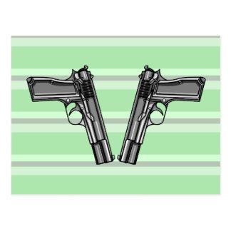 Tecknadstilillustration av två handeldvapen vykort
