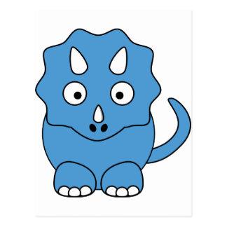 TecknadTriceratops (blått) Vykort