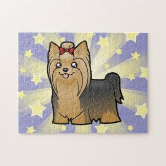 TecknadYorkshire Terrier (långt hår med pilbågen) Pussel