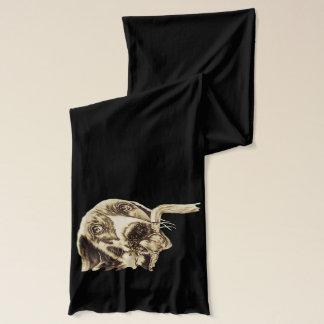 Teckning av hunden som dricker på scarfen sjal