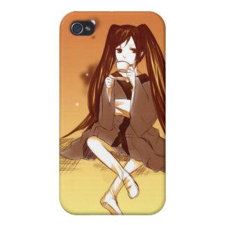 Teckning av mangaflickan som har det teaIphone 4 iPhone 4 Skydd