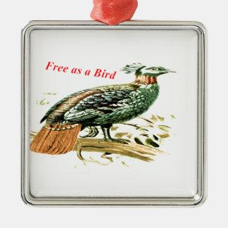 Teckning av pheasanten som är fri som en fågel julgransprydnad metall