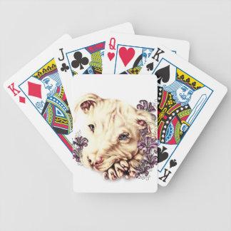Teckning av vit Pitbull med liljar Spelkort
