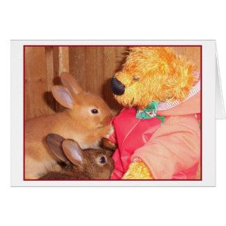teddybears älskar lite bebiskaniner hälsningskort