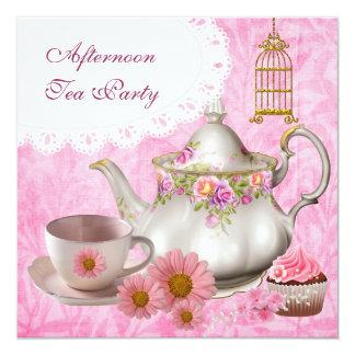 Tekanna för muffin för eftermiddagTeaparty rosa Fyrkantigt 13,3 Cm Inbjudningskort