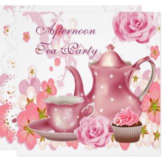 Tekanna för rosa ros för vintage för fyrkantigt 13,3 cm inbjudningskort