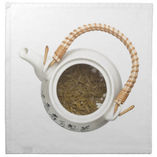 Tekanna med kinesiska tealöv tygservett