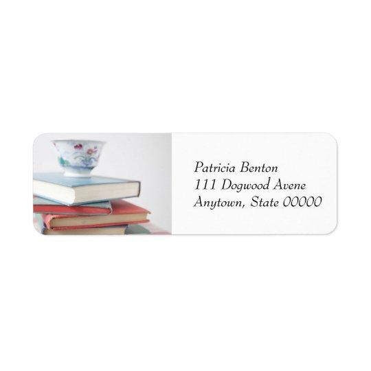 Tekopp på etikett för bokbuntadress returadress etikett