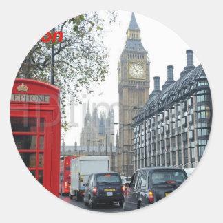 Telefonen boxas London stora Ben (St.K) Runt Klistermärke
