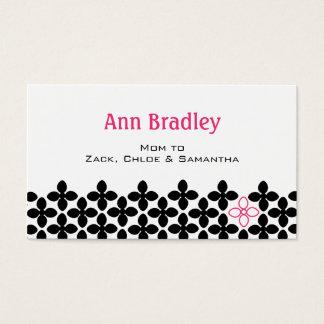Telefonkort för svart- och rosablommamamma visitkort