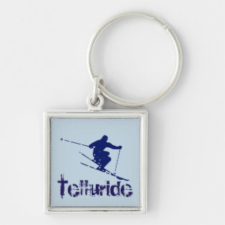 TellurideColorado Skier Fyrkantig Silverfärgad Nyckelring