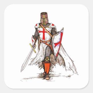Templar riddare fyrkantigt klistermärke